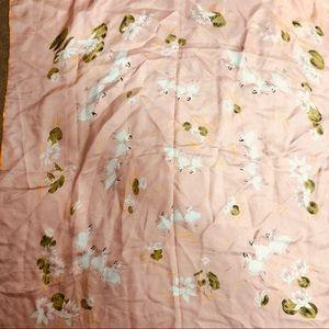 Vintage ballerina pink silky scarf 1950's